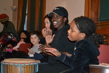 Family drumming event at the library in 2014.