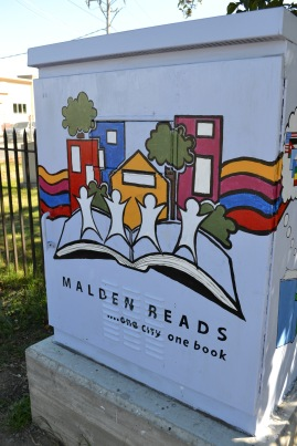 The Malden Reads switchbox is on the corner of Route 60 (Eastern Ave.) and Route 99 (Broadway).